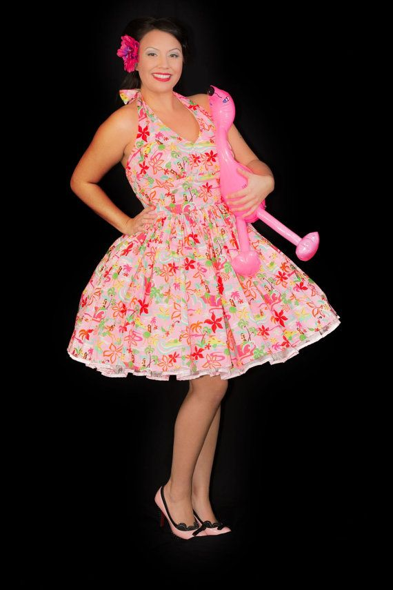 Hawaiian Dress  Pink Hula Dress  Luau Dress  Tiki by CherryTiki