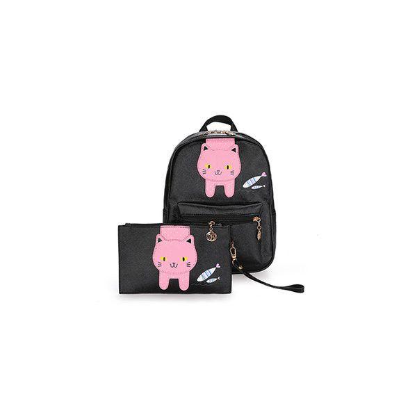Cute Cat PU Leather Backpack Girls Schoolbag Animal Print Shoulder Bag ($19) ❤ liked on Polyvore featuring bags, backpacks, black, print backpacks, animal print shoulder bag, zipper bag, pocket backpack and zip bag