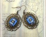Vintage look & Mosaic Glass Earrings