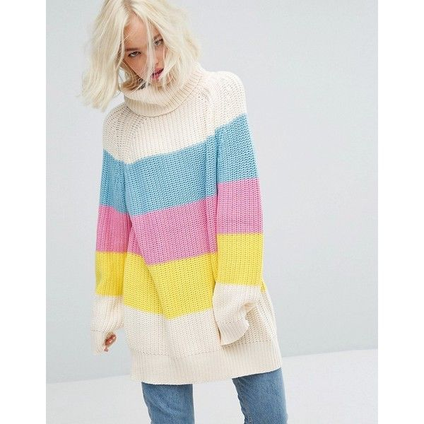 Lazy Oaf Oversized Roll Neck Knitted Jumper With Sorbet Panels (£75) ❤ liked on Polyvore featuring tops, sweaters, multi, cotton jumper, long sleeve jumper, extra long sleeve sweater, jumpers sweaters and roll neck sweater