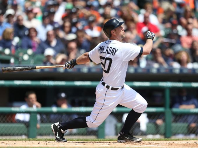 Detroit Tigers catcher Bryan Holaday bats against the