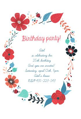 """""""Blooming Wreath"""" printable invitation template. Customize, add text and photos. Print or download for free!"""
