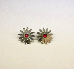 Silver Acrylic Clip On Earrings