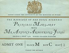 Ticket for the entrance to the wedding of Princess Margaret to Antony Armstrong-Jones on 6 May 1960. Princess Margaret, Countess of Snowdon - Wikipedia, the free encyclopedia
