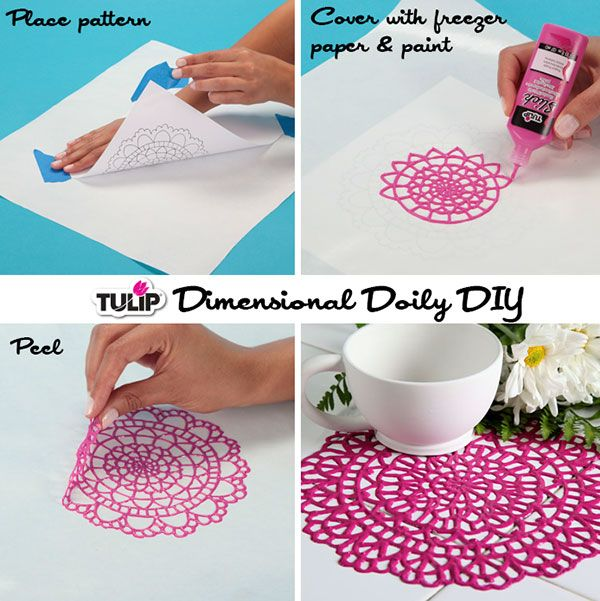 This might create a really cool stencil for my journals or if it doesn't stick the pages together, be cool for the journal itself. DIY Delicate Dimensions Doily