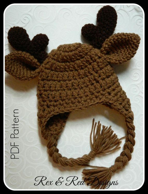 Crochet Moose Antler Hat PDF PATTERN ONLY by RexandRedDesigns