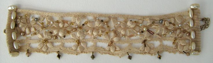 Gorgeous antique embroidered lace for a bracelet by https://www.facebook.com/pages/Beloved-Vintage-Bridal-by-Jacq-Brill/119683038049034