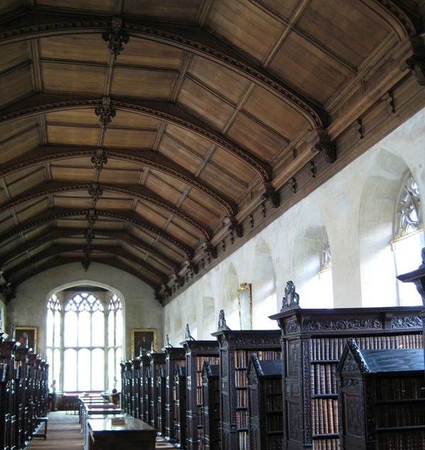 old libraries. This clicks through to a slideshow of the 25 most beautiful college libraries in the world. This one is found at Cambridge University.