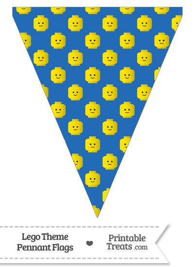 Blue Lego Theme Pennant Banner Flag from PrintableTreats.com