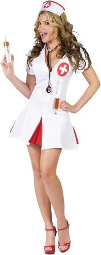 Time for your medicine. This listing is for Say Ahhh! Sexy Nurse Adult Costume. Costume includes a white dress with matching cap, a stethoscope and 2 shot syringes. Please note that shoes are NOT incl
