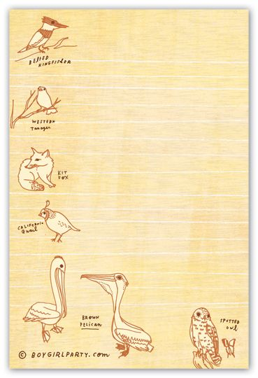 natural history museum notepad at http://shop.boygirlparty.com
