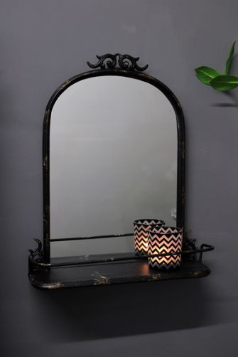 black metal mirror with shelf. Black Bedroom Furniture Sets. Home Design Ideas