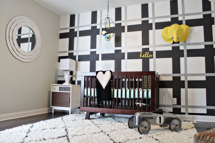 Modern Nursery with Black and White Plaid Accent Wall - Project Nursery: Boys Nurseries, Boys Rooms, Plaid Wall, Projects Nurseries, Modern Nurseries, Plaid Accent, Baby Rooms, Accent Wall, Kids Rooms