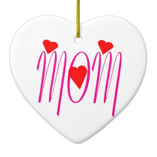 Mom with Red Hearts Ceramic Heart Ornament