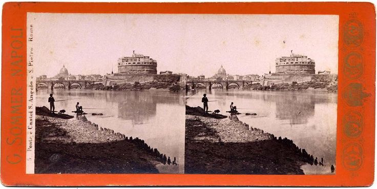 Stereograph of fishermen on the Tiber, and Castel Sant'Angelo, Roma.