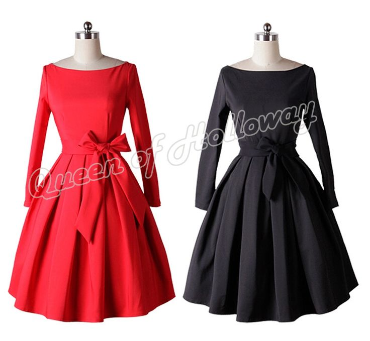 >> Click to Buy << 0144-1950s Rockabilly audrey hepburn pinup retro women's long sleeve swing ball/party dress/vestidos in red/black plus size #Affiliate
