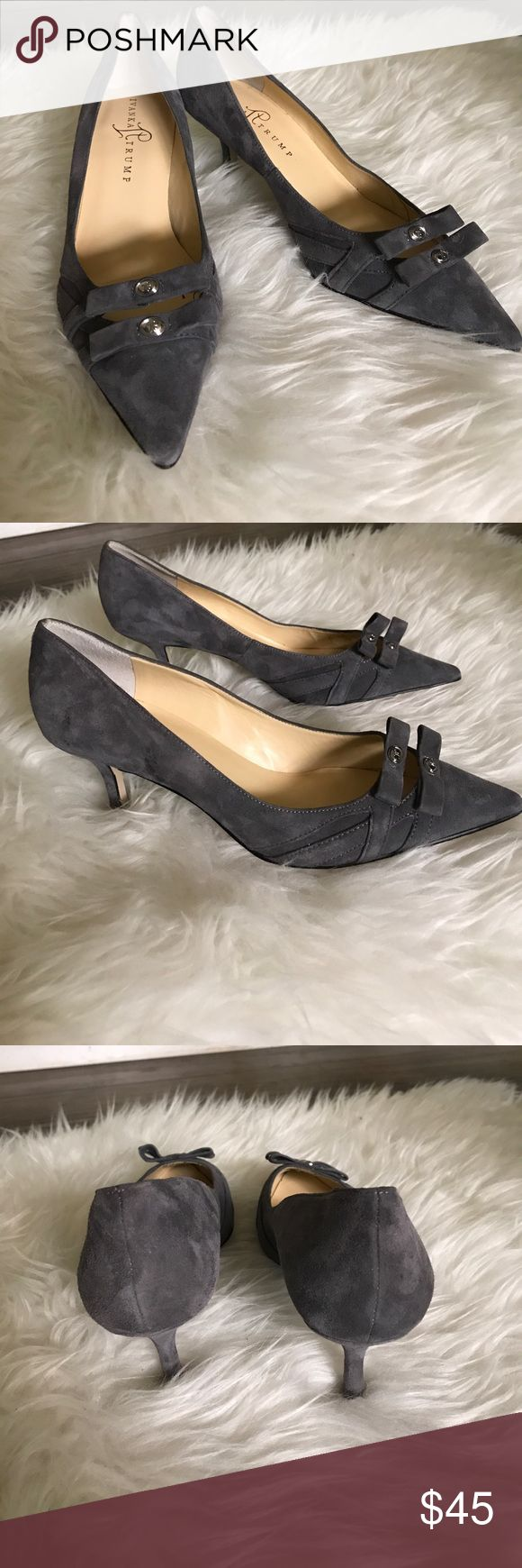 Ivanka Trump heels Pretty heels by Ivanka Trump. Suede gray leather. Pointed toes with two subtle bows at top. Classic and chic. Great condition. Heel height 3. Ivanka Trump Shoes Heels