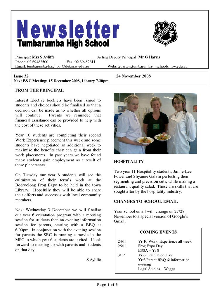 Best  School Newsletters Ideas On   Monthly