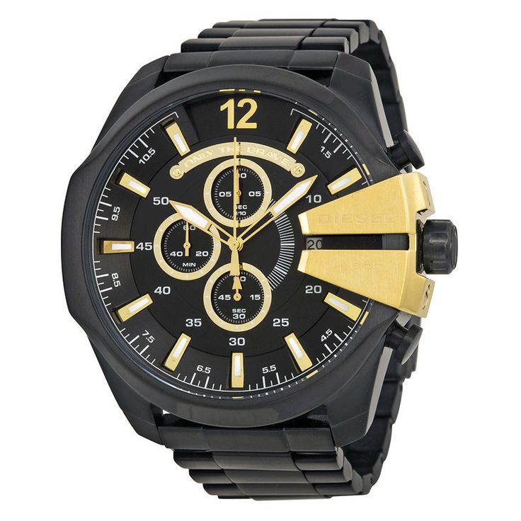 Diesel MEGA CHIEF Mens BLACK on BLACK Chronograph Watch DZ4338 $260 NWT in BOX #Diesel #Fashion