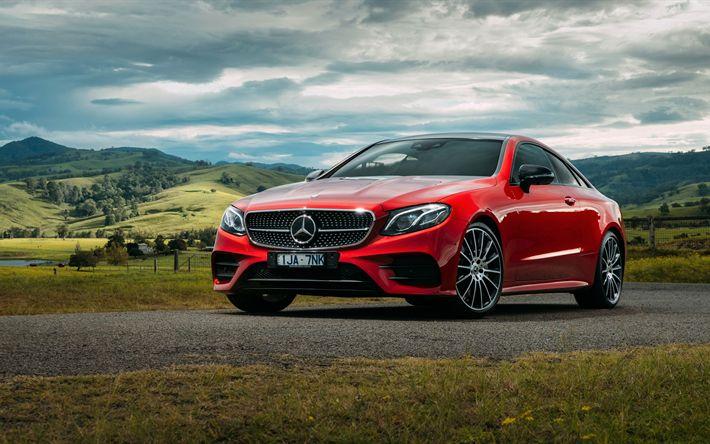 Descargar fondos de pantalla Mercedes-Benz E-Class Coupe, 4k de 2017, los coches, carretera, movimiento, Mercedes rojo