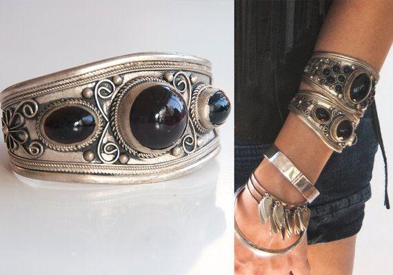Nepalese Gypsy Silver Onyx Wide Cuff Bracelet | Tibetan Indian Boho Chunky Tribal Jewelry Nepal Ethnic Silver and Black Thick Cuff Bracelet