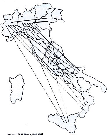 Main regions of migrants in Italy (from the South to the North)
