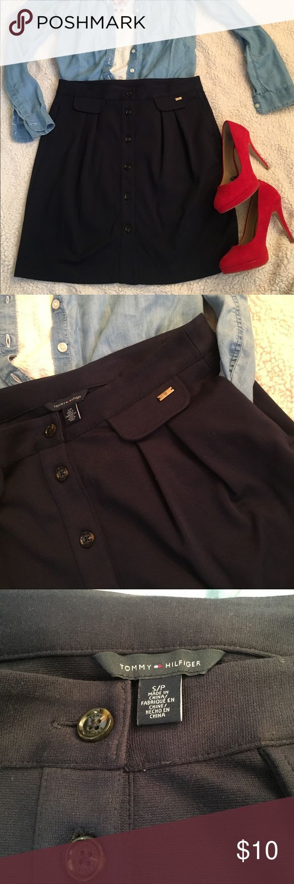 Tommy Hilfiger Navy Blue Knit Button Front Skirt Tommy Hilfiger Navy Blue Knit Button Front Skirt w/pockets Sz Small Tommy Hilfiger Skirts