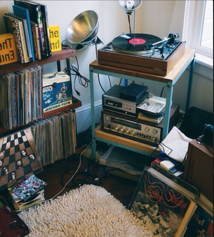 Record Player In Bedroom W Shelves Via Tumblr