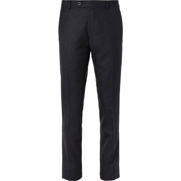 Mr P. Navy Worsted Wool Trousers (945 MYR) via Polyvore featuring men's fashion, men's clothing, men's pants, men's casual pants, mens navy blue pants and old navy mens pants