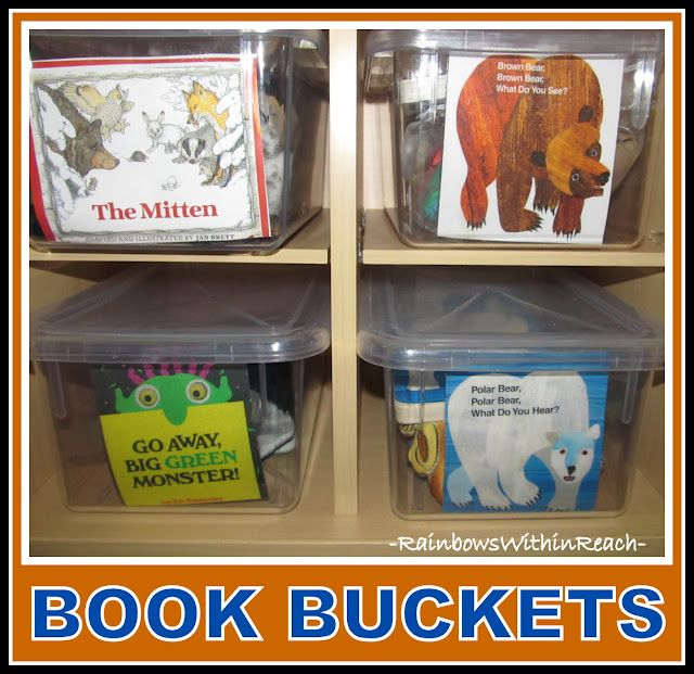 each bucket is labeled with the cover of the book at stores all the storytelling props inside. great idea!!
