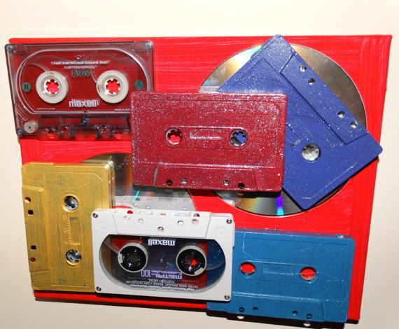 Music / Cassette Tape and CD Wall Art Mixed Media by DorenesXXOO