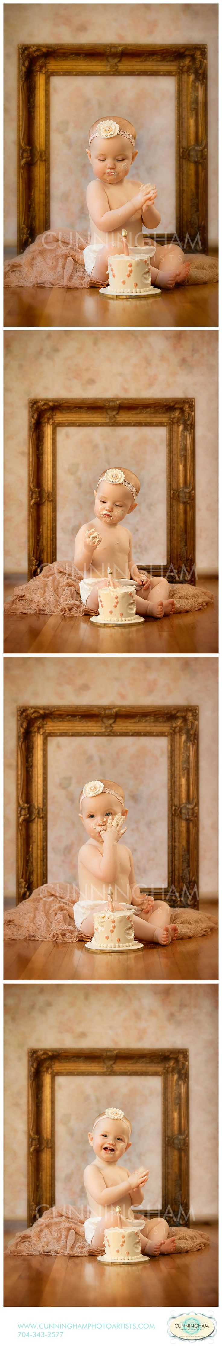 NICOLETTE 1 YEAR CAKE SMASH CUNNINGHAM PHOTO ARTISTS WOW FACTOR CAKES