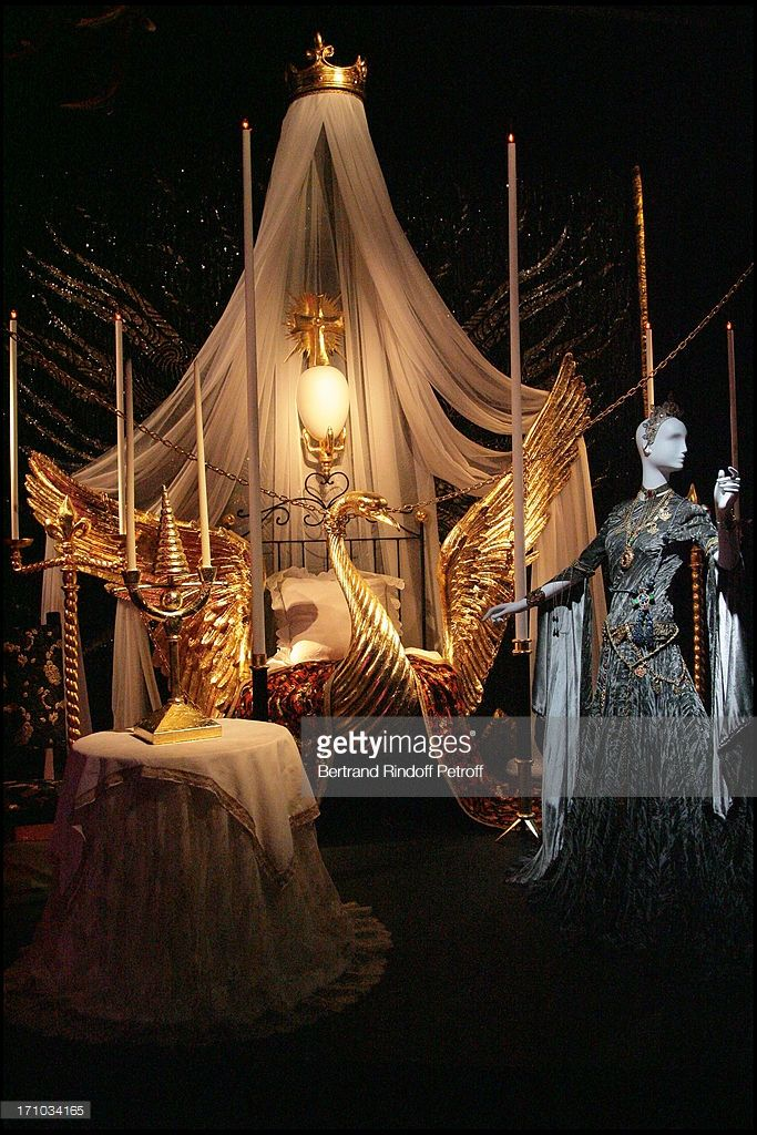 Decor of the movie by Jean Cocteau 'L'aigle a Deux Tetes' (the two headed eagle) - Yves Saint Laurent exhibition launch about theater, cinema, music hall, ballet at the Pierre Berce foundation and Yves Saint Laurent in Paris.