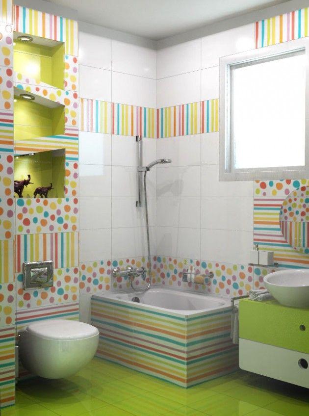 Colorful tiles for kids bathroom | azulejos coloridos para un baño infantil
