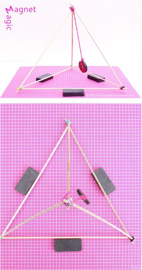 """Explore the magic of magnet science with 4 fun experiments and our DIY """"magnetic gizmo"""" made from skewers and a donut magnet."""