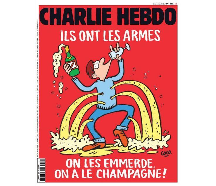 """Новые карикатуры Charlie Hebdo: «К черту их! У нас есть шампанское!» Карикатуры Charlie Hebdo, новость публикует французское интернет-издание """"Libération"""" в ответ на недавние атаки террористов на Париж. Обложка свежего (может сказать – последнего?), сатирического скандального журнала Charlie Hebdo с надписью на обложке: """"У них есть оружие. Мы у них в печенках сидим: у нас есть шампанское!""""."""