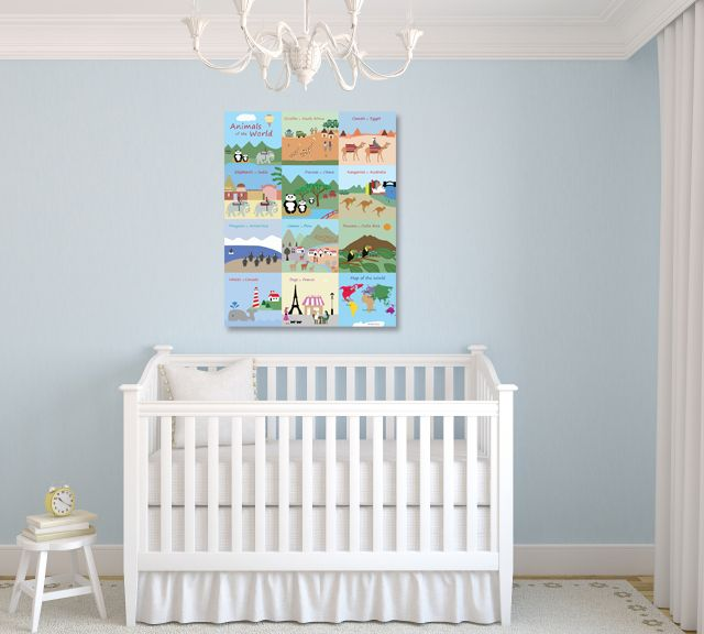 If your little one loves animals, check out Baby Ventures Animals of the World canvas art! From Costa Rica to Egypt, animals of the world come to life in their natural habitats! Take in their diversity and find inspiration for visiting new locales with your little ones. #childrensart #kidsart #animals #nurserydecor #kidswallart