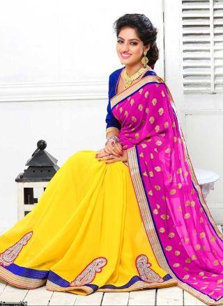 Deepika Singh Magenta And Yellow Georgette Embroidery Work Half N Half Saree