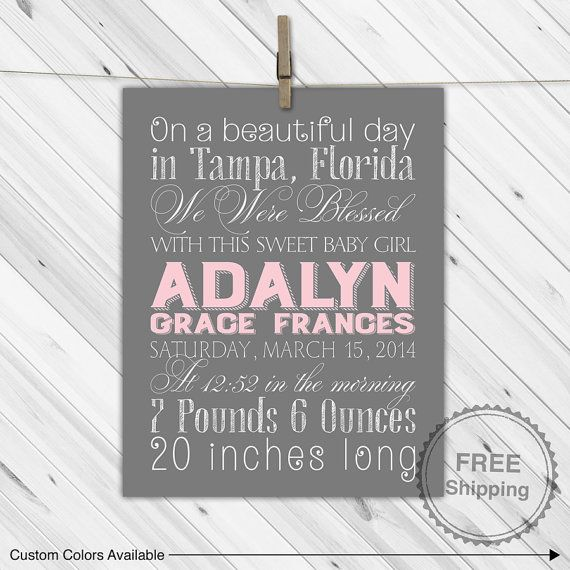 Pink and gray nursery, new baby girl gift, baby girl birth stats print, baby gift for newborn girl, birth announcement nursery art