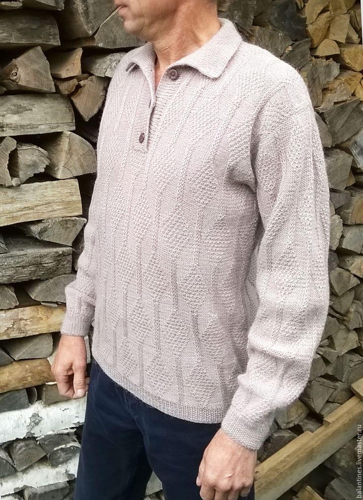 Купить Свитер Поло вязаный мужской из шерсти ручной работы - бежевый, ручное вязание, свитер
