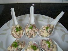 Recept voor Lepelhapje met garnalen en appel. Meer originele recepten en bereidingswijze voor voorgerechten