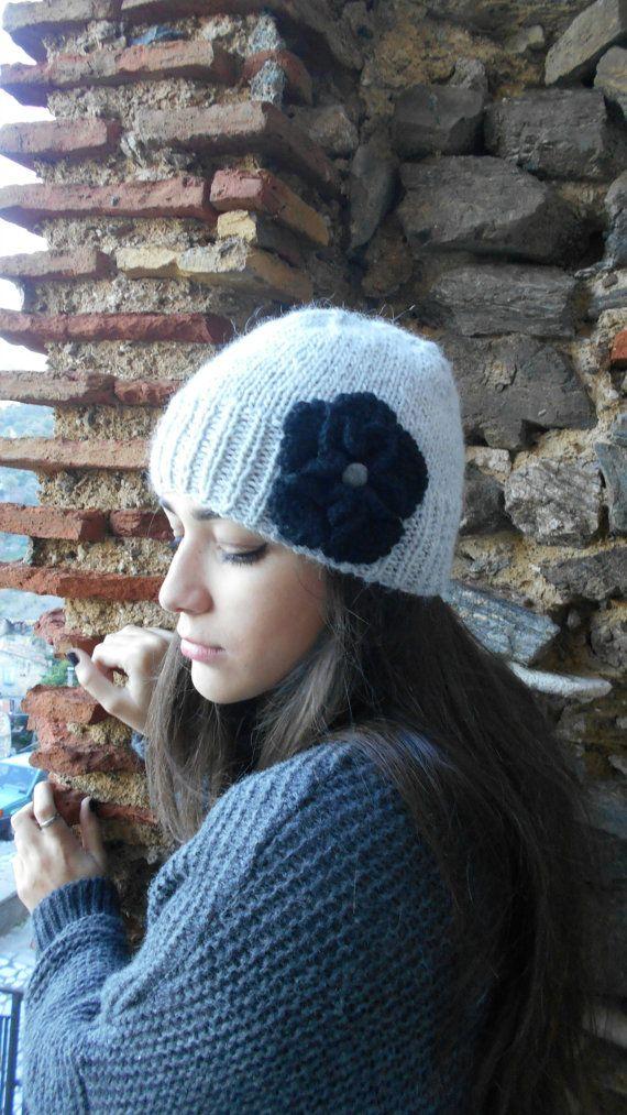 Hand knit beret  alpaca   beanie hat with by LAlabastroCreazioni