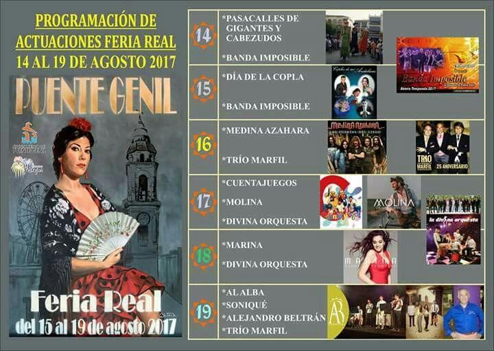 Programación actuaciones #FeriaReal2017 del 15 al 19 agosto #PuenteGenil ¡Ven y disfrútala!