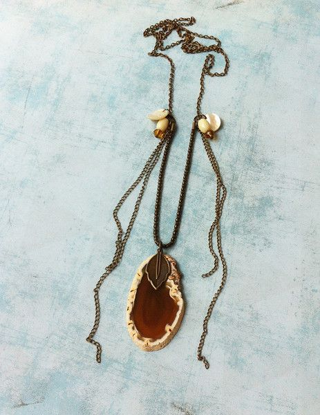 Brown Agate & Mother of pearl. Long necklace. Handmade Unique Piece.