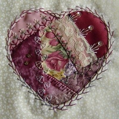 Maroon Crazy Quilt Heart by sweet.dreams -- http://indulgy.com/post/azBQztxaQ1/crazy-quilt-heart