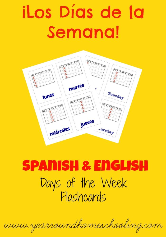 learning the days of the week in spanish spanish flashcard and the o 39 jays. Black Bedroom Furniture Sets. Home Design Ideas