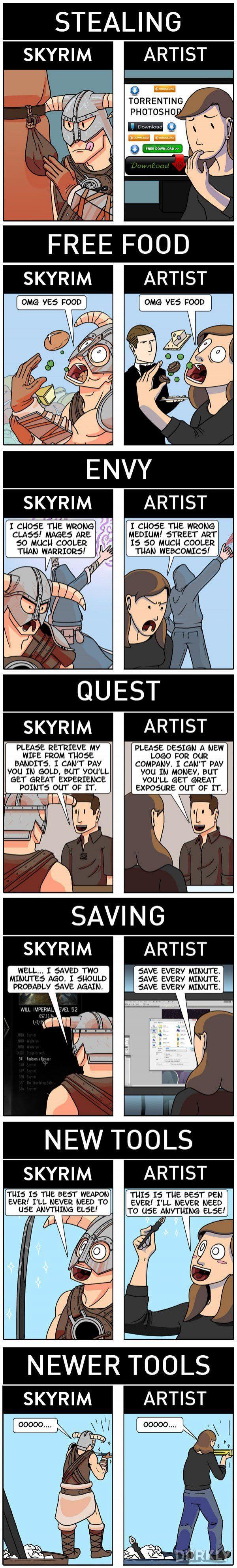 """How Skyrim Perfectly Describes the Life of an Artist"" #dorkly #geek #skyrim"