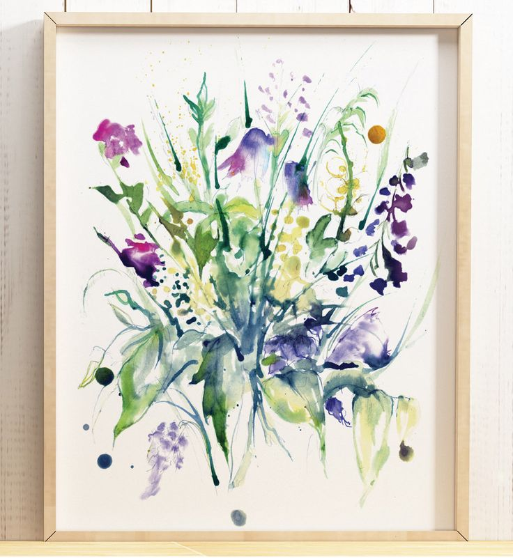 £12.99 Watercolour Abstract colourful wild flower bouquet illustration inky art print painting pink purple floral pretty poster A4 A3 A2 ANY SIZE by LeonaBethillustrator on Etsy https://www.etsy.com/uk/listing/560816545/watercolour-abstract-colourful-wild