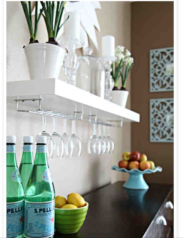 Dining room floating shelves.... This would be perfect on the half wall by the kitchen