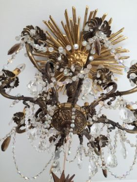 Nice  Kronleuchter antik Flammig Vintage Blattvergoldete Sonne in M nchen